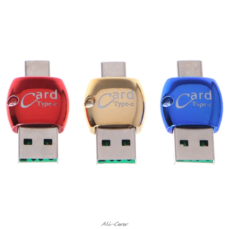 2 In 1 OTG USB 3.1 Type C To USB 2.0 Micro SD/TF Memeory Card Reader Adapter