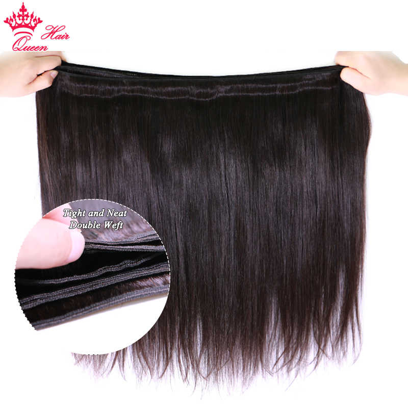 מלכת שיער מוצרים ברזילאי ישר שיער חבילות 100% שיער טבעי הרחבות Weave 3/4pc בתולה טבעי צבע 1B מהיר חינם