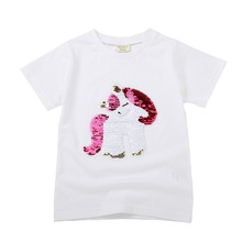 Baby Girls T Shirt Sequin Color Change Face Magic Discoloration Summer 2019 Top Kids T Shirt Girls Tops Children 2 6 8years цена 2017