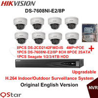 Hikvision Original English Surveillance System 8pcs DS 2CD2142FWD IS 4MP IP Camera POE 6MP Recording 8POE
