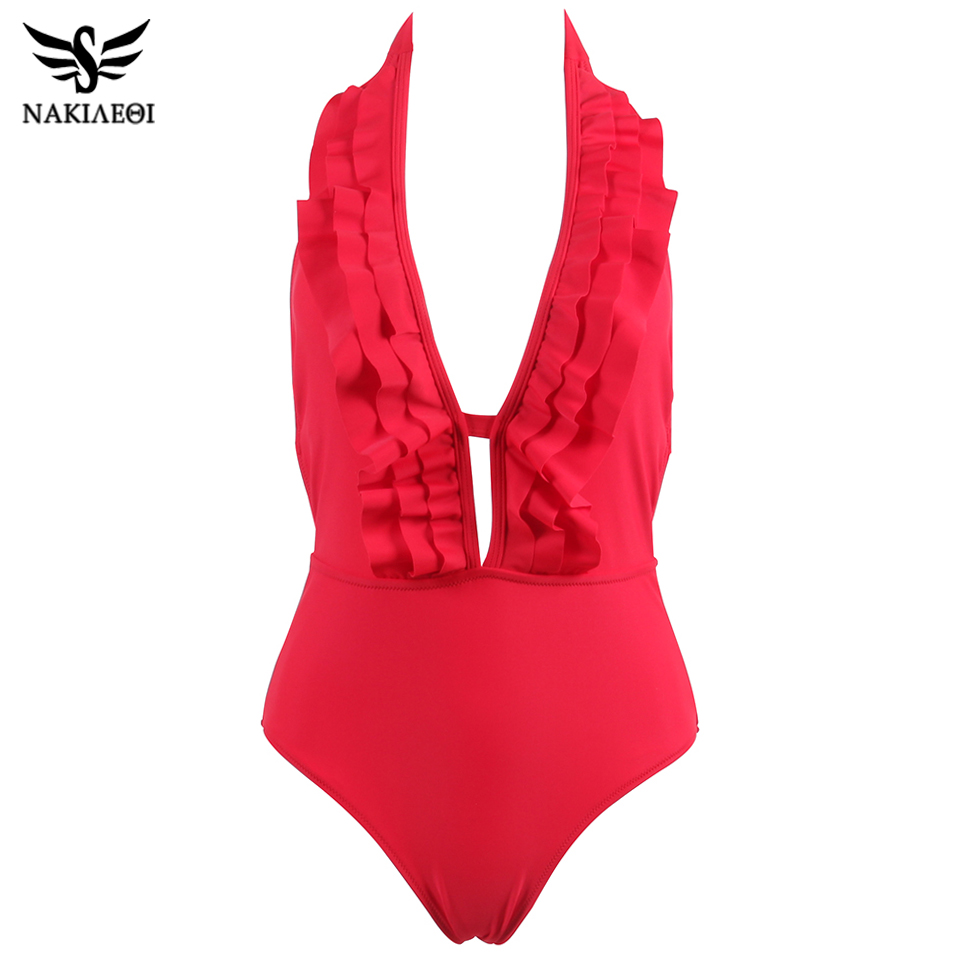 NAKIAEOI 2018 Sexy One Piece Swimsuit Women Swimwear Deep V Neck Ruffled Trikini Backless Swim Halter Bathing Suit Monokini S~XL 3