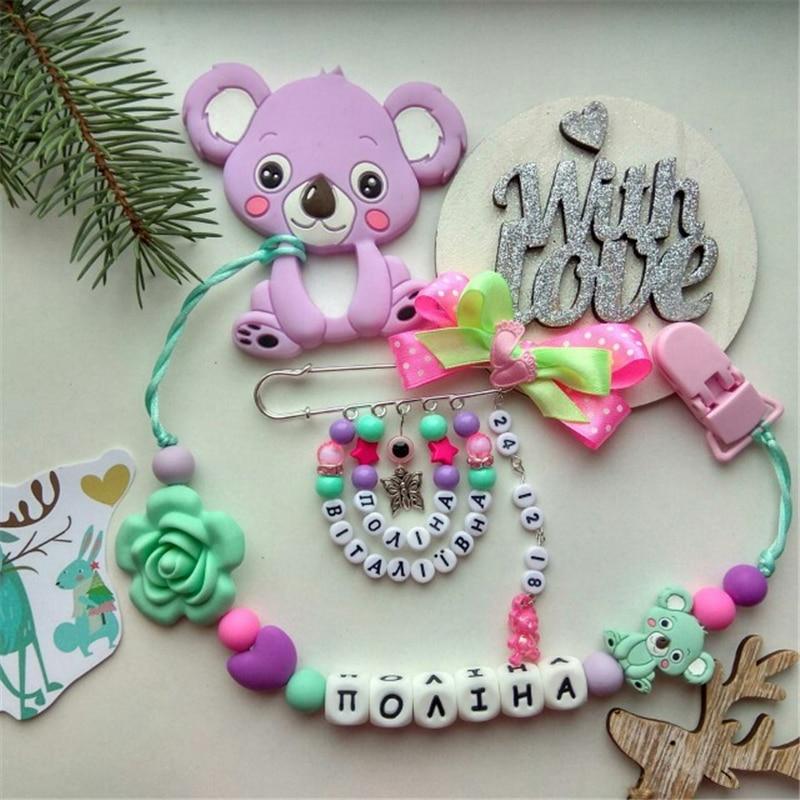 Купить с кэшбэком Chenkai 50PCS Silicone Koala Teether Beads DIY Baby Animal Cartoon Chewing Pacifier Dummy Sensory Jewelry Toy Making Koala Bead