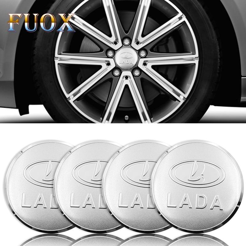 4PCS Car Aluminium Wheel Hub Center Caps Emblem Sticker For Lada Niva Kalina Priora Granta Largus Vaz Samara 2110 Auto Styling