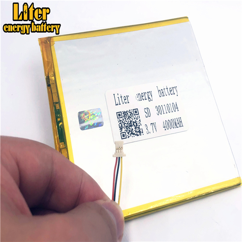 1.0MM 3pin connector 30110104 30110105 <font><b>3.7v</b></font> <font><b>4000mah</b></font> lipo <font><b>battery</b></font> in rechargeable <font><b>Batteries</b></font> with full capacity tablet pc image