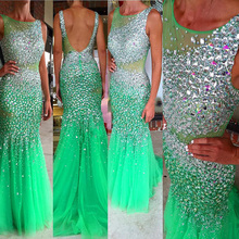 Luxus Kristall abendkleid Lange Türkis Oansatz Perlen Tüll Transparent Navy Blue Mermaid Prom Kleider avondjurk abendkleider