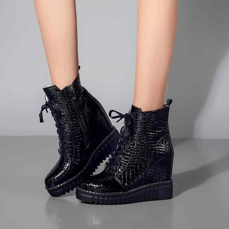 2018 siêu sao bò da nền tảng dây kéo nêm phụ nữ khởi động mắt cá chân cao gót vòng toe thanh lịch phụ nữ văn phòng mùa đông giày L02