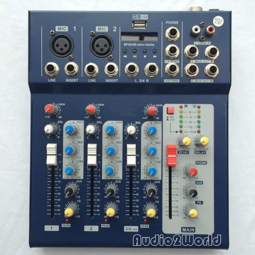 buy mini audio mixer f4 small mixing console 4 channel from reliable audio. Black Bedroom Furniture Sets. Home Design Ideas