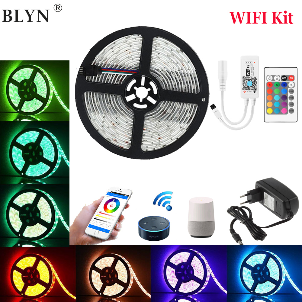 WIFI LED Strip 5050 RGB Ribbon 5M 10M 15M Waterproof LED Tape Smart WIFI Light Controller Bluetooth IR Remote Music 12V AdapterWIFI LED Strip 5050 RGB Ribbon 5M 10M 15M Waterproof LED Tape Smart WIFI Light Controller Bluetooth IR Remote Music 12V Adapter