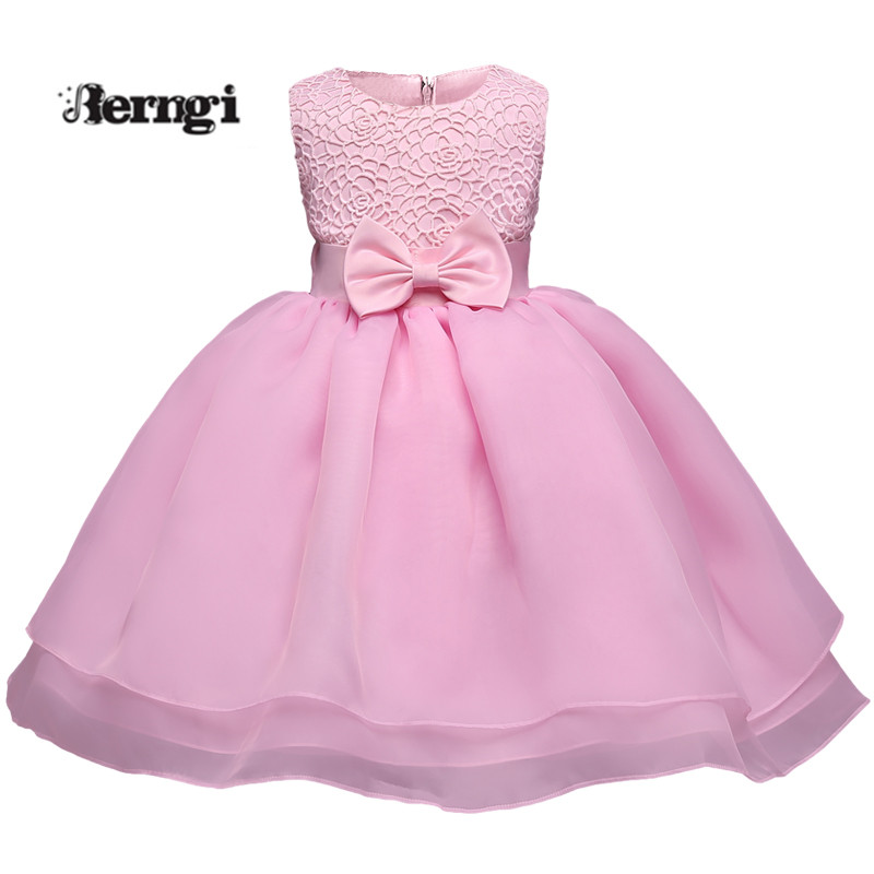 Baby Girl Dress New Brand Pink Sleeveless Bowknot Kids Clothes First Birthday Tulle Toddler Dresses for Girls 0-2 yrs baby wow baby clothes girl dresses for 1 year birthday christmas first communion dresses for toddler clothes 80187