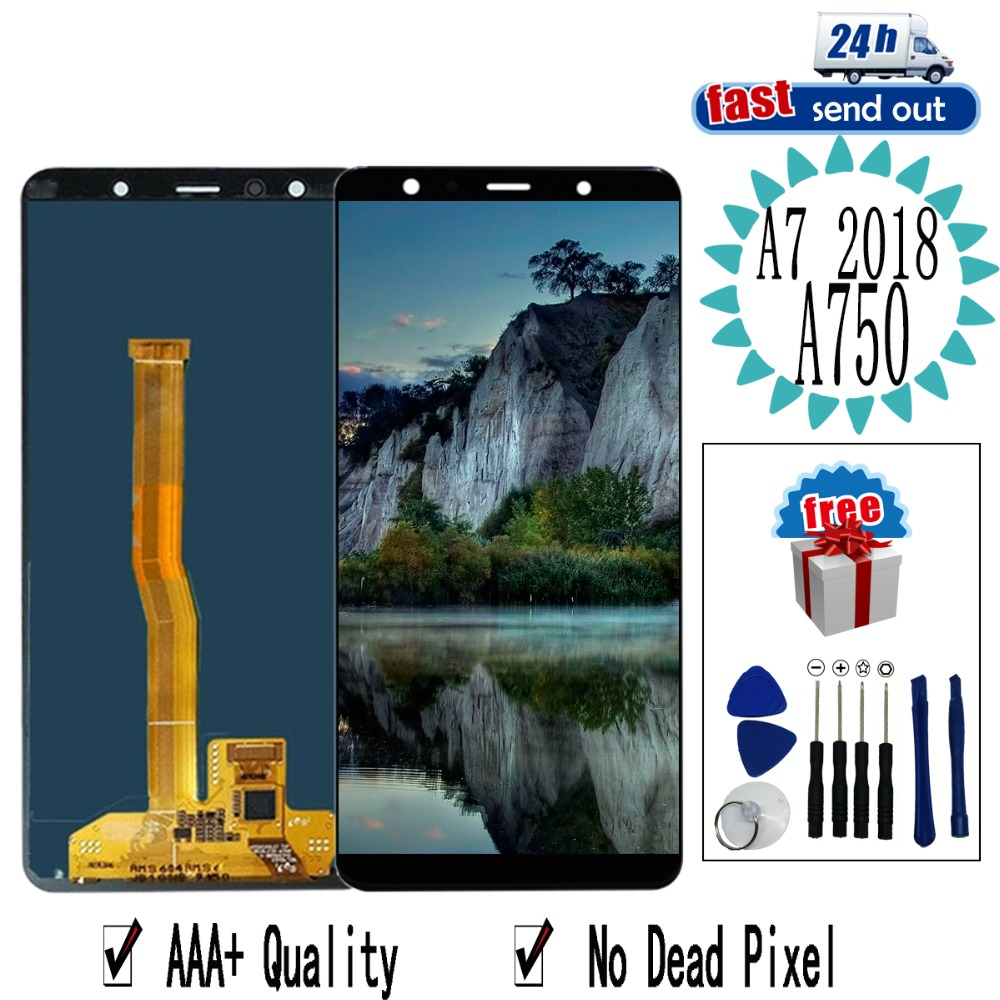 6.0'' AMOLED A750 LCD For <font><b>Samsung</b></font> <font><b>Galaxy</b></font> <font><b>A7</b></font> <font><b>2018</b></font> A750 LCD <font><b>Display</b></font> A750F SM-A750F Touch Screen Tested Digitizer Assembly image