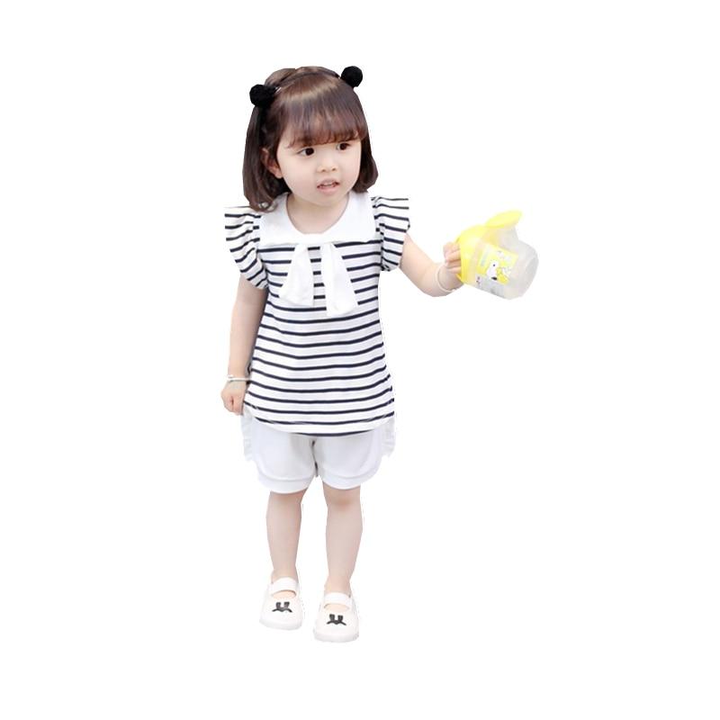 Crianças Vestuário de Moda Verão Do Bebê Meninas Arco Tarja T-shirt Calças Curtas 2 pçs/sets Crianças de Algodão Puro Roupas Criança Fatos de treino
