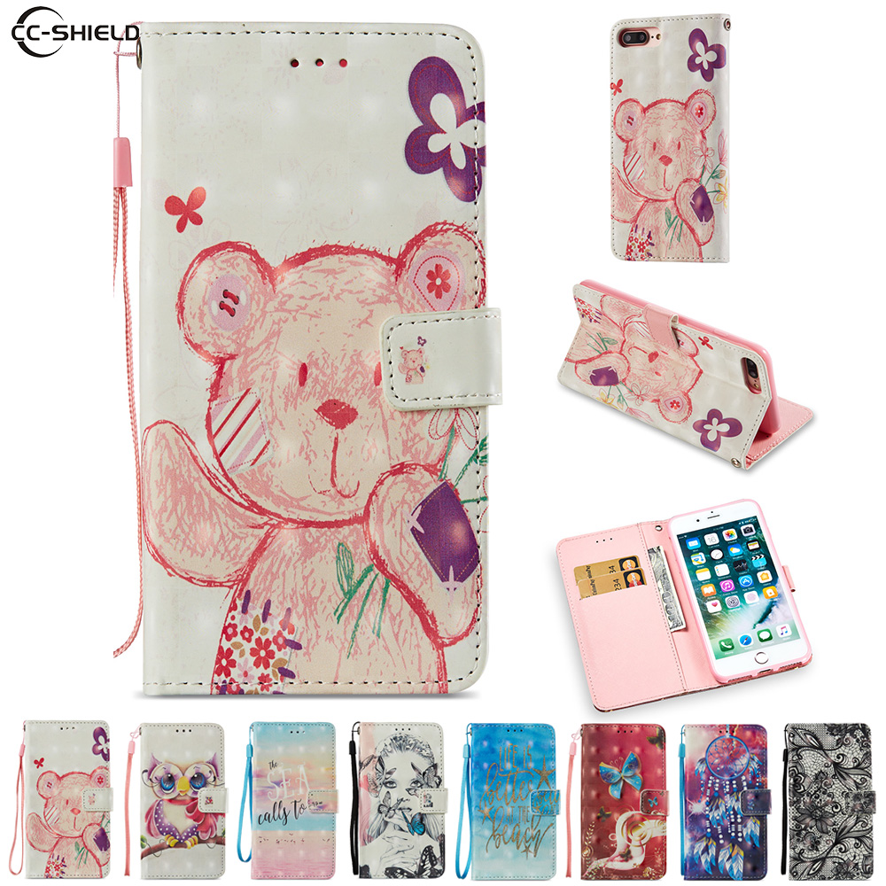 Cartoon Case for Apple iPhone 7 Plus A1778 A1779 Cute Bear Owl Cartoon PU Leather Flip Stand Cover for iPhone 8 Plus A1897 A1898