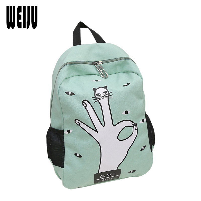 Finger Printing Backpack 2016 New Canvas Cartoon Girls Backpacks Women s School Backpack Mochila Feminina Candy