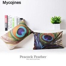 Beautiful Peacock Feather Cushion Cover Throw Pillow Case Linen Cotton Home Decorative Lumbar Waist Support 30*50cm