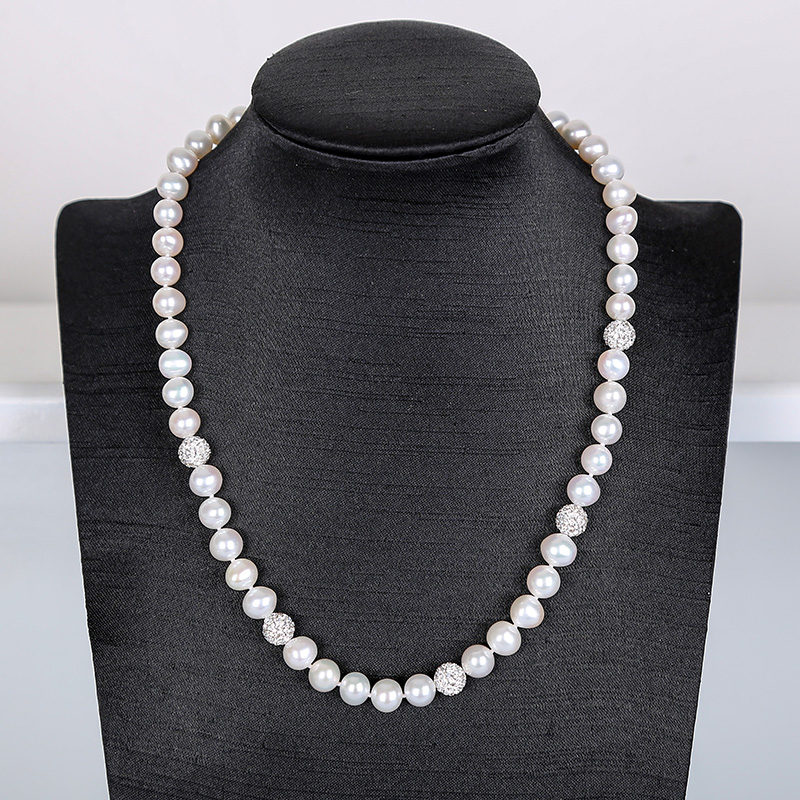 White elegant Pearl Necklace Nattural Pearls Necklacef Women Fashion Crystal Chains Popular Pearl Jewelry For Necklace hdxbscn hdc he 006m 35a connector