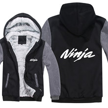 Kawasaki Ninja Hoodies Men Fashion Coat Pullover Wool Liner Jacket Kawasaki Ninja Sweatshirts Hoody HS-105(China)
