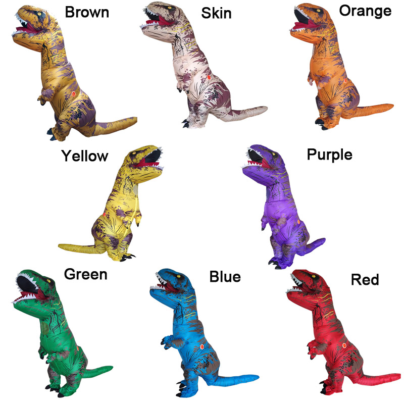 INFLATABLE Dinosaur T REX Costumes For Adult Red Green Blue Brown Purple Yellow Orange Skin Color T-rex Party Costume For Men
