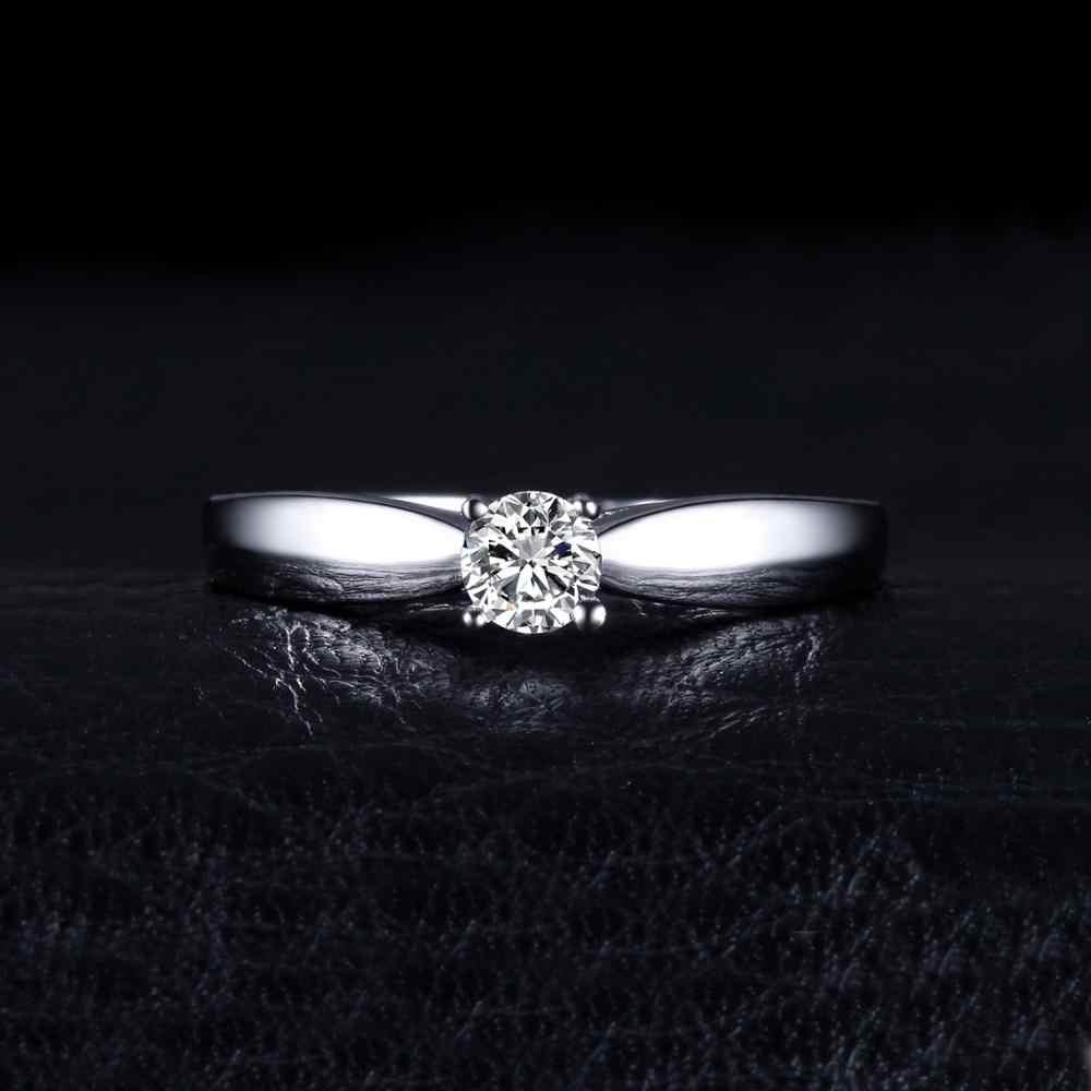 JewelryPalace encantador anillo de compromiso solitario genuino 925 plata esterlina chapados en rodio joyas para chica