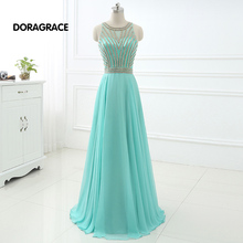 DORAGRACE Real Photos Elegant Beaded Chiffon Floor-Length Long Prom Gowns Designer Evening Dresses DGE056