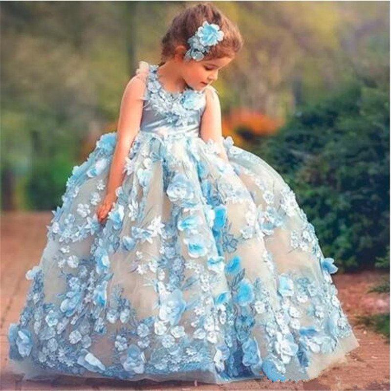 Fabulous Sky-Blue Fairy  Pageant Dresses Sleeveless Fluffy Prom Dress With 3D  Floral Appliques Hand Made Flower Open Back Longo