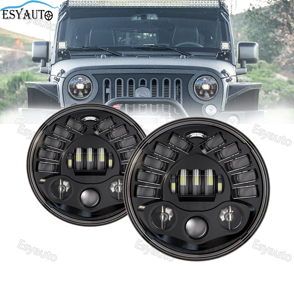7 Inch LED Headlights DOT Approved 70W Round Headlamp white DRL Turn Signal Lights Hi/Lo Beam for Jeep Wrangler (2 Pcs) 2pcs new design 7inch 78w hi lo beam headlamp 7 led headlight for wrangler round 78w led headlights with drl