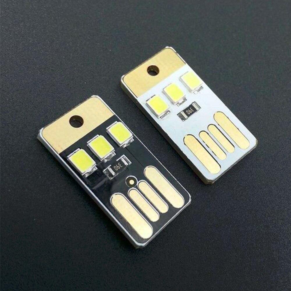 2PCS Night Lamp Mini Pocket Card USB Power LED Keychain Night Light 0.2W Light For Power Bank Computer Laptop