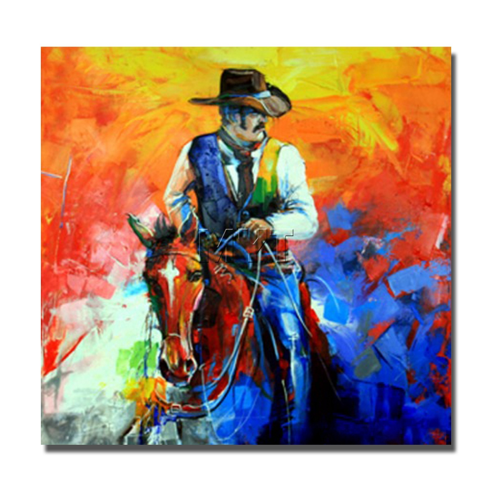 Famous paintings handmade oil painting pop canvas wall art decor protrait oil painting orf cowboy riding horses