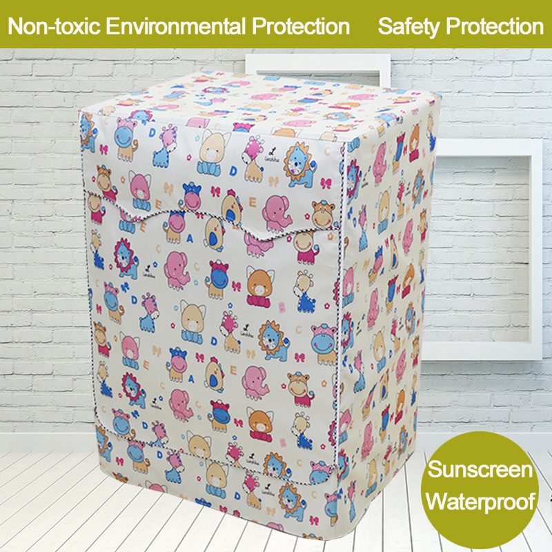 Animal Printing Washing Machine Cover Dust Cover for Roller Washing - Household Merchandises