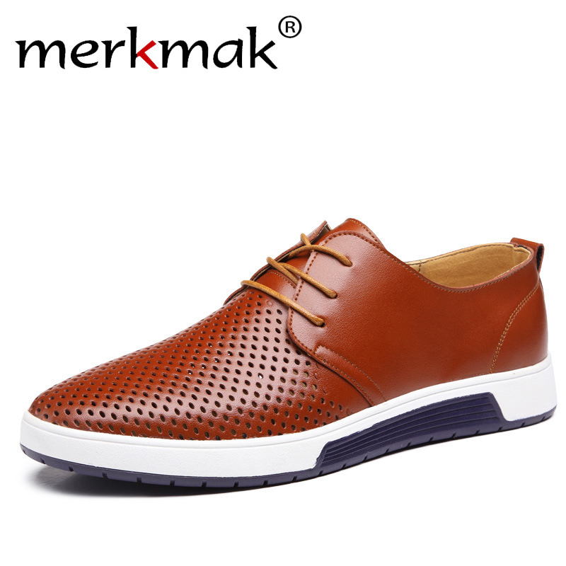 Neue 2018 Sommer Marke Casual Männer Schuhe Herren Wohnungen Luxus echtes Leder Schuhe Mann Atemlöcher Oxford Big Size Freizeit schuhe