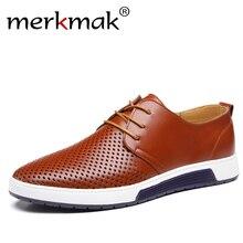 Новый Лето 2017 г. брендовая Повседневная Мужская обувь мужские мокасины Роскошные Натуральная кожа Мужская обувь дыхание отверстия Оксфорд большой Размеры Обувь для отдыха