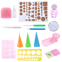 19pcs Handmake Paper Template DIY Paper Quilling Tools Set Template Mould Board Tweezer Pins Slotted Tool Kit Card Paper Crafts