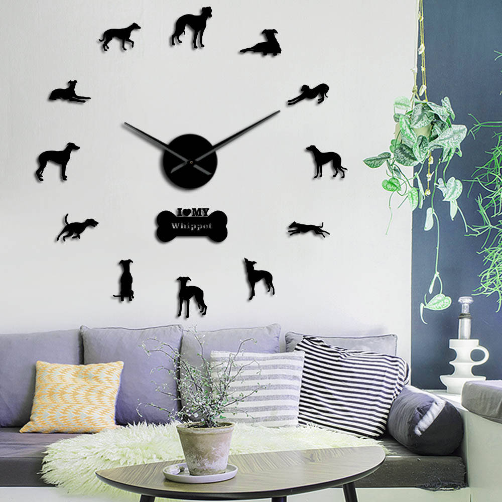 Oversized Whippet Dog Portrait 3D Acrylic DIY Wall Clock Italian Greyhound Canine Animal Mirror Effect Wall Stickers Clock Watch