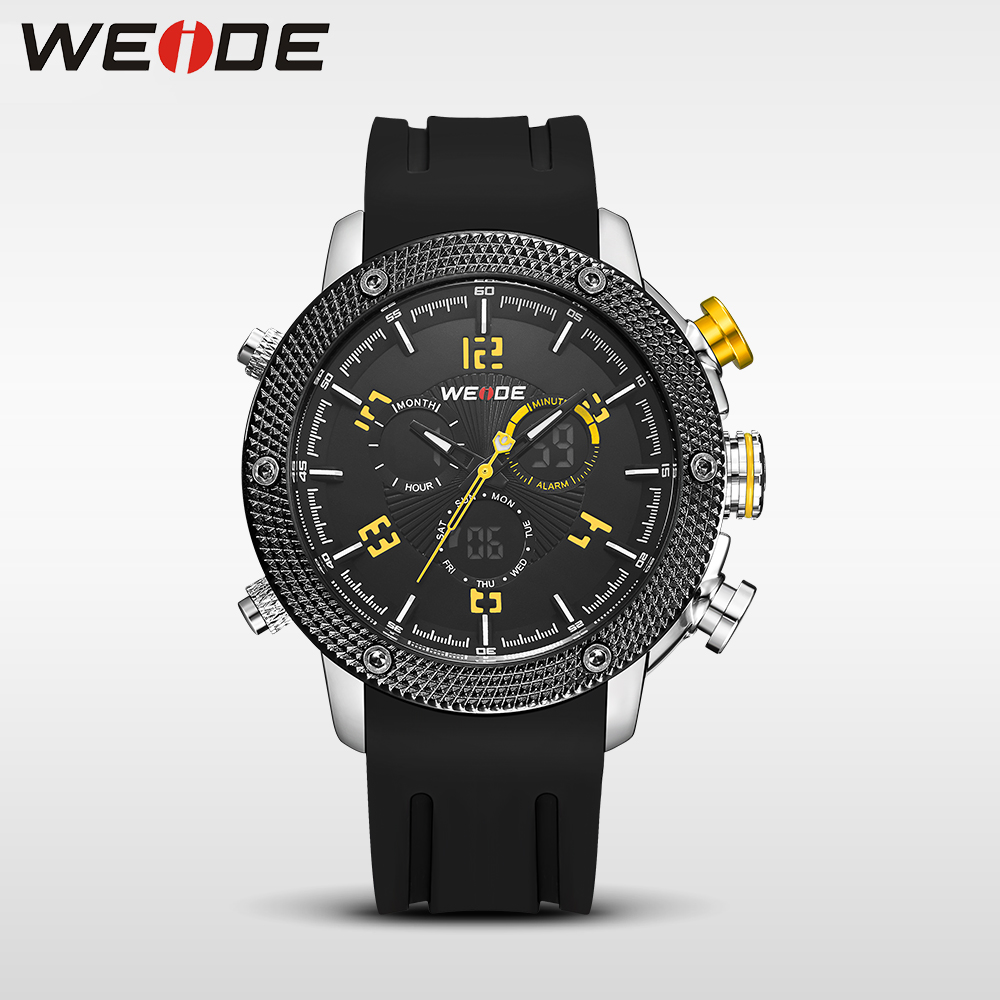 WEIDE Casual genuin  Brand  Watch Men Sport Back Light Quartz Digital Move't Silicone Waterproof Wristwatch Multiple Time Zone watch men led digital waterproof wristwatch casual man sport watches 2017 new weide famous brand saat erkekler horloges mannen