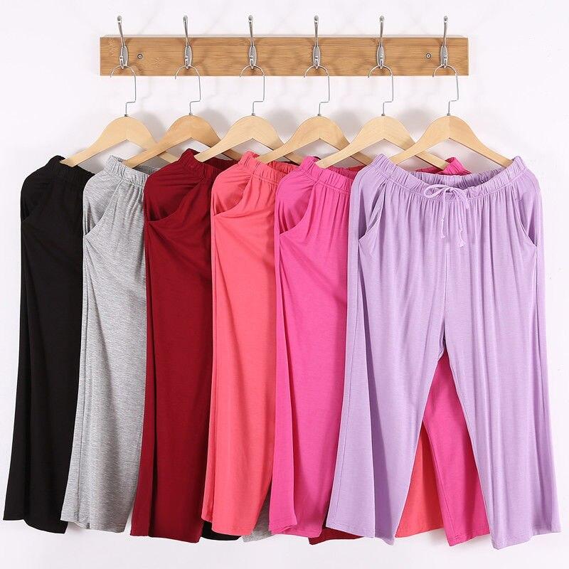 Modal Sleep Bottom Women Long Pants Loose Size Home Pajamas Sexy Casual Drawstring Solid Color Calf Pant Summer Sleepwear