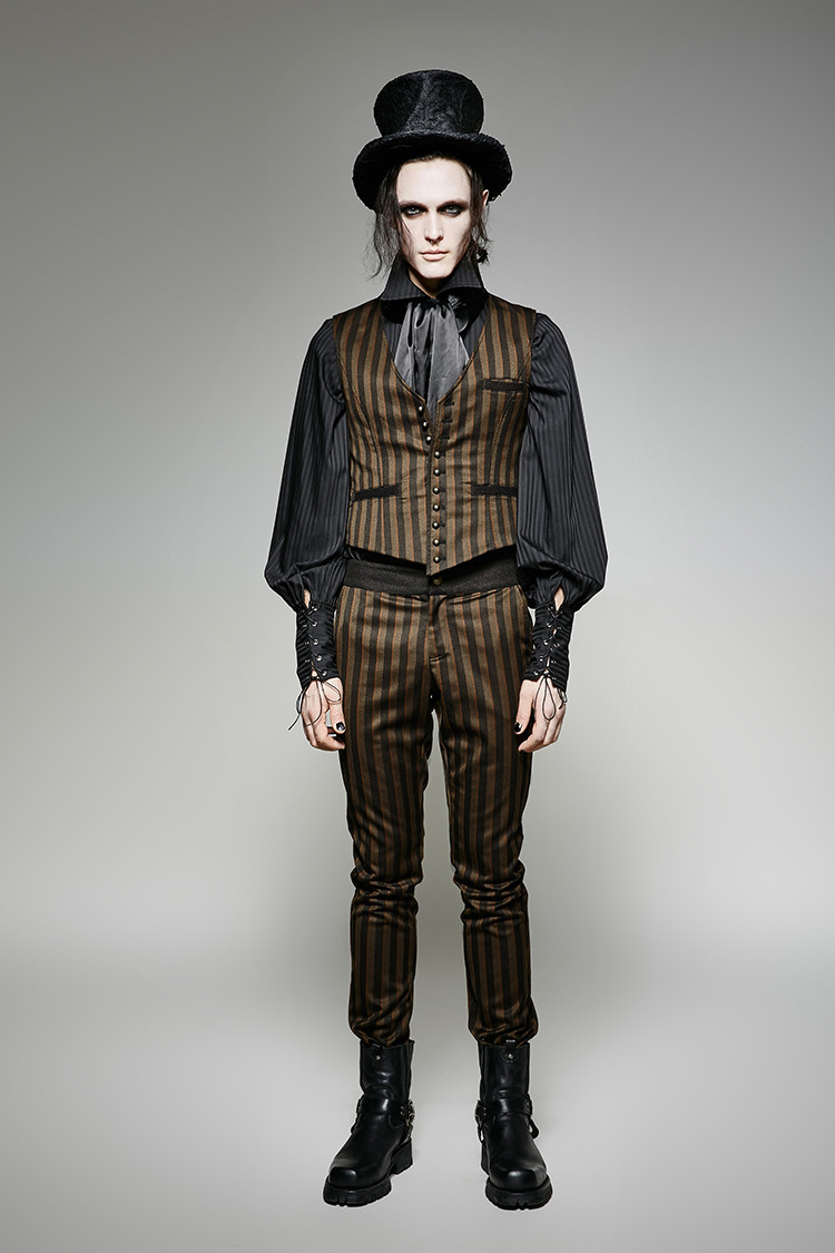 Punk Rave Gothic Palace Suit Pants Steampunk Coffee Striped Fitness Trousers