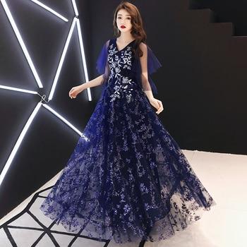 2020 New Long Evening Dress for Woman V Neck A-Line Decorated with Flower Tull Blue Prom Dress vestido de festa LYFY148