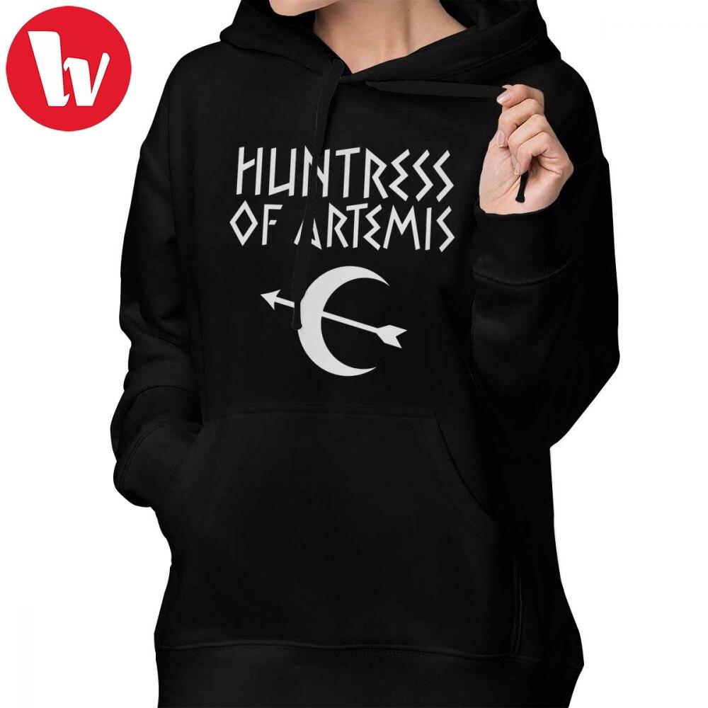 Percy Jackson Hoodie Huntress Of Artemis Hoodies Printed Sexy Hoodies Women Streetwear Black Cotton Long Sleeve Pullover Hoodie