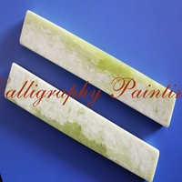A Pair Paperweight Jade Natural Xiuyan Chinaese Ink Brush Painting Calligraphy Tool