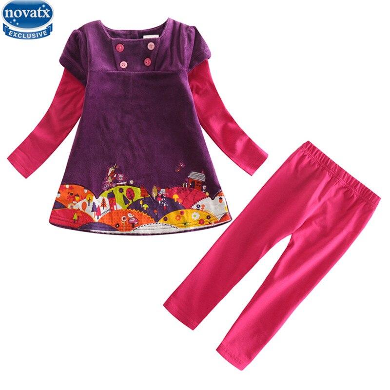 Nova kids wear suits winter baby girls clothing sets apllique children clothes girls casual sets for kids girls nova clothes set
