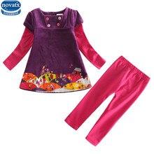 Nova enfants portent des costumes d'hiver bébé filles vêtements ensembles apllique enfants vêtements filles jeux occasionnels pour enfants filles nova vêtements ensemble
