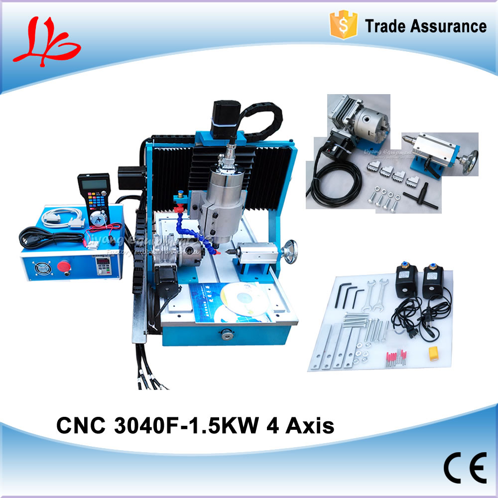 1.5KW 4 Axis Mini CNC Metal Cutting Machine CNC Router Engraver CNC 3040 Milling Machine