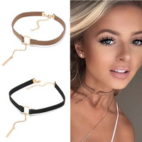 N181 90's Sexy Choker Necklaces For Women Punk Geometric Tassel Terciopelo Leather Colar Statement Necklace Collares Bijoux HOT