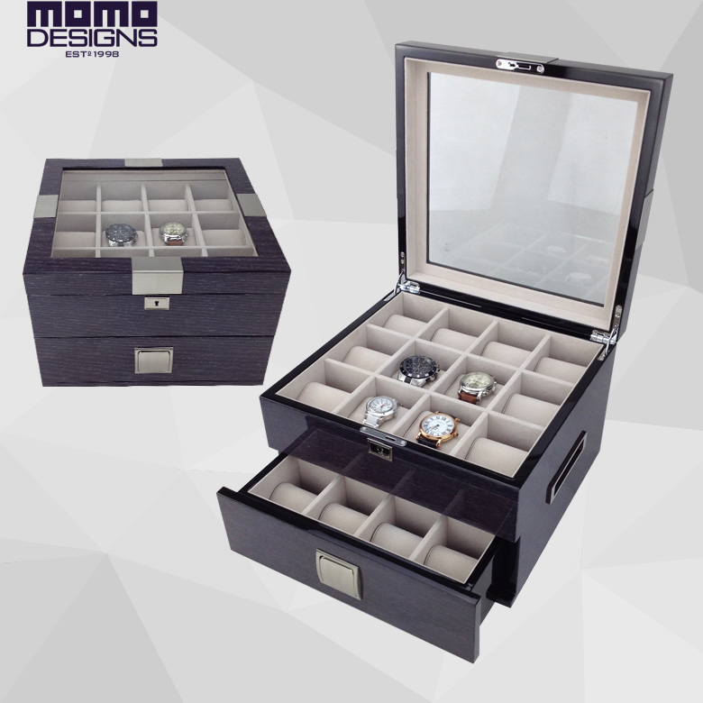 Luxury watch box wood 24 Watches storage box Watch case display High quality watch display home and store luxury aluminum watch