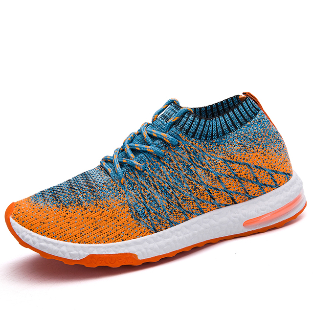 POSTOBON Fashion Lace Up Sneakers Men Shoes color: Black|Gray|Orange