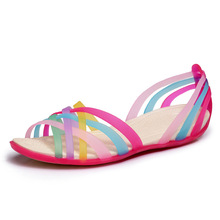Women Sandals 2015 Summer New Candy Color Peep Toe Stappy Beach Valentine Rainbow croc Jelly Shoes Woman Wedges Sandalias