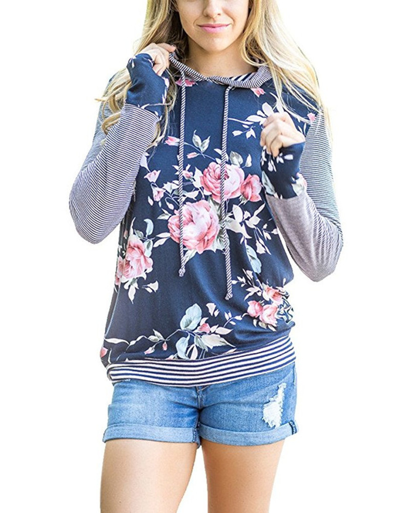 Women Hoodies Hooded Sweatshirts Ladies Spring Clothing Print Floral Classics Casual Female Sweatshirts Hoodies in Hoodies amp Sweatshirts from Women 39 s Clothing