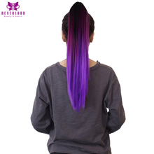 Neverland 20″ 50cm Clip On Hair Extensions Claw Pony Tail Synthetic Hairpiece Straight Purple Ombre Two Tone Ponytail Hair Tail