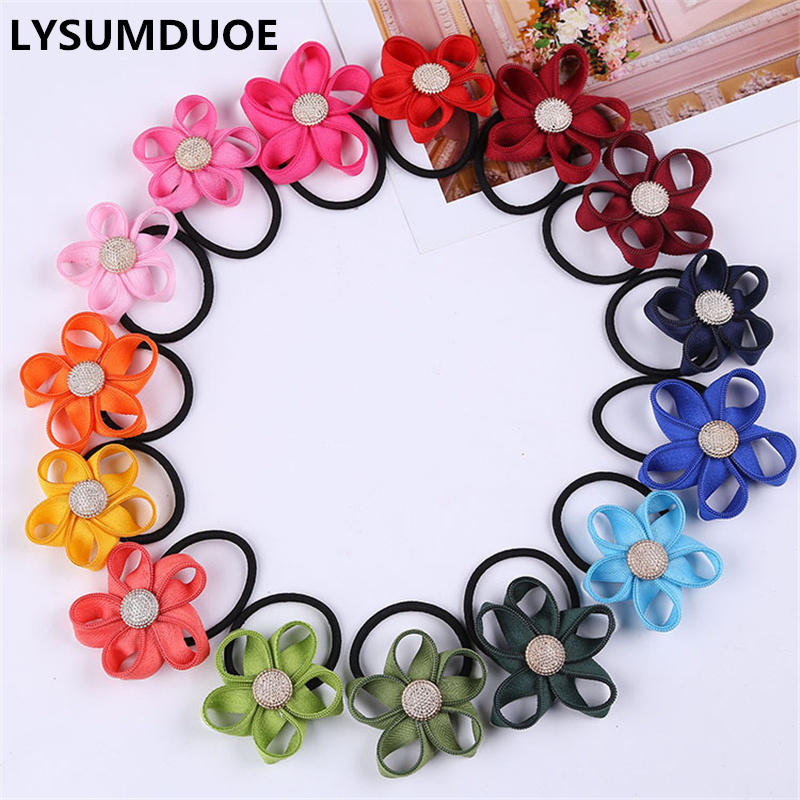 10Pcs/Lot Women Elastic Hair Bands Bow Creative Zipper Flower Hair Ring Rope Headband Rubber Band   Headwear   Girl Hair Accessories