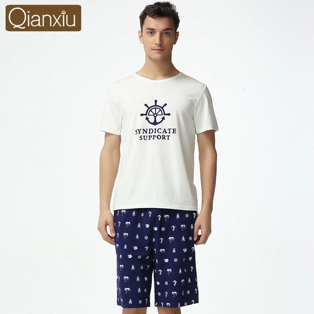 Conjunto de pijama de coulpe qianxiu casa de verano para los hombres del o-cuello ropa de dormir de algodón