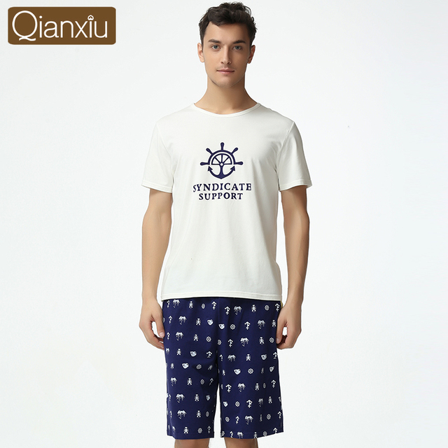 Qianxiu Pajama Set For Coulpe Summer  Home  For Men O-neck Cotton Sleepwear